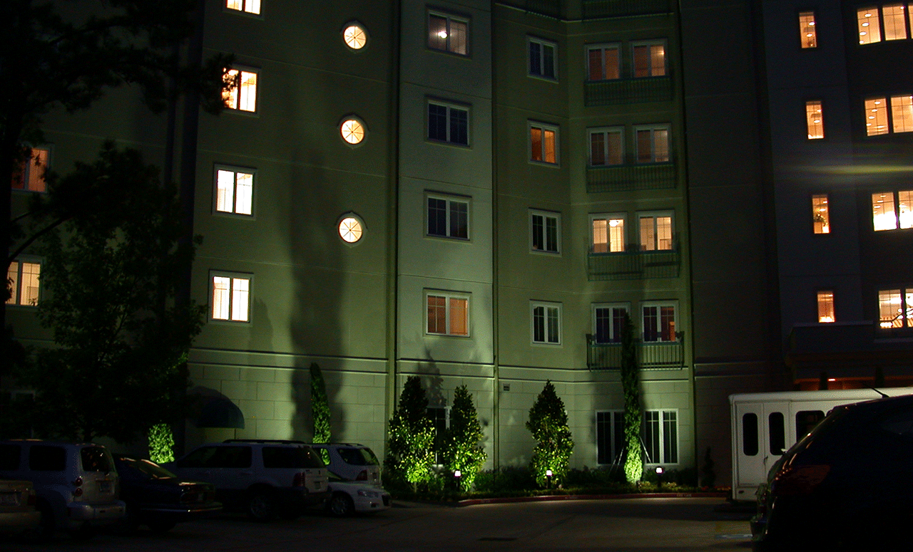 Natural Concepts light fixtures around the bases of trees at night in front of the Hampton Hotel